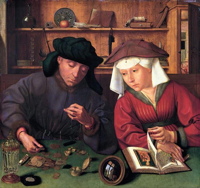 Quentin Massys, Der Geldwechsler und seine Frau, Öl auf Leinwand, 1514, heute im Louvre, Paris. Bild in der Public Domain.
